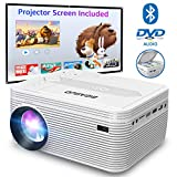 BIGASUO Bluetooth Mini Projector with DVD Player 4000 Lumens, Home Cinema Projector with Projection Screen...