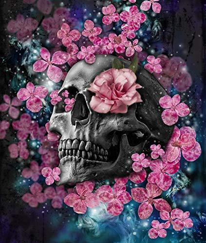 FFFZDCKAY 5D Pink Flower Skull Full Diamond Painting Kreuzstich-Kits Kunst Blumen 3D-Farbe von Diamanten