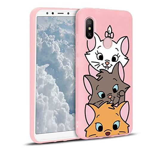 ZhuoFan Funda Xiaomi Mi A2, Cárcasa Silicona Rosa con Dibujos Diseño Suave Gel TPU Antigolpes de Protector Piel Case Cover Bumper Fundas para Movil Xiaomi MiA2 / 6X, 3 Gato