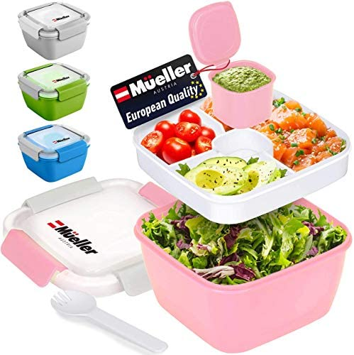 Mueller Salad Lunch Container To Go Large 51 oz Salad Bowl 3 Part Divided Tray with Dressing product image