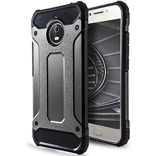 2 Teilig Hülle für Motorola Moto E4 Plus   TPU & Plastik Grau Stoßfest Hülle
