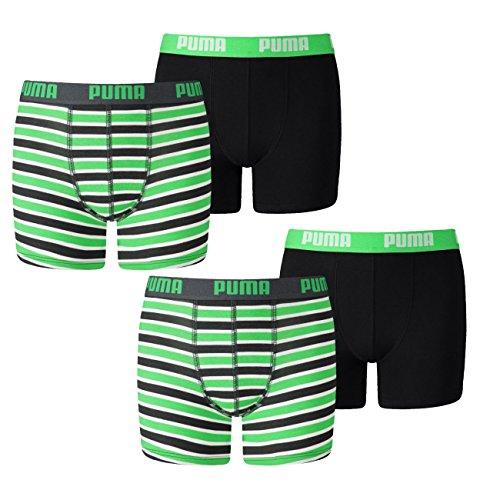 PUMA Junior Boys Boxershort Basic Boxer Printed Stripe 4er Pack, Grösse:152, Farbe:Classic Green (704)