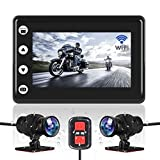 VSYSTO Motorcycle Video Driving Recorder Dash cam Dual 2 Channels Lens Front & Rear 1080P Backup Camera with WiFi 3' IPS Screen Full Body Waterproof Night Vision