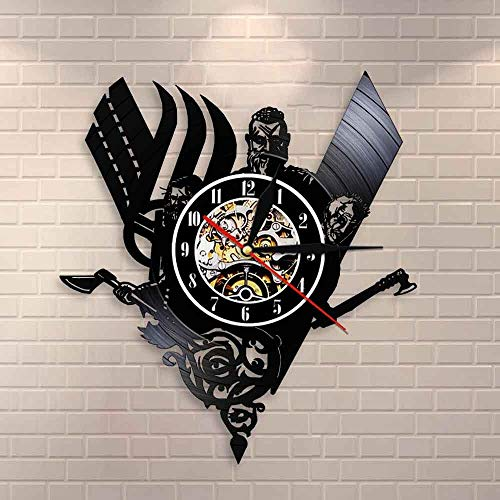 BFMBCHDJ Reloj de Pared de Registro de Vinilo Medieval Vikingo escandinavo Vintage Reloj de Guerrero Retro Runas nórdicas Thor Ragnarok