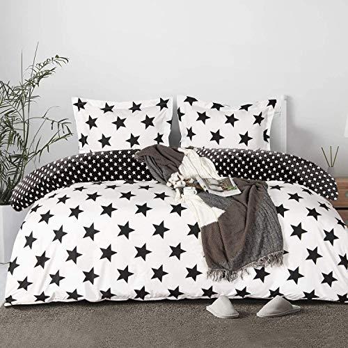 Sacebeleu Sterne Bettwäsche 135x200cm Schwarz Weiß Kinder Jungen Mädchen Wendebettwäsche Set Bettbezug und Kissenbezug 80x80cm mit Reißverschluss