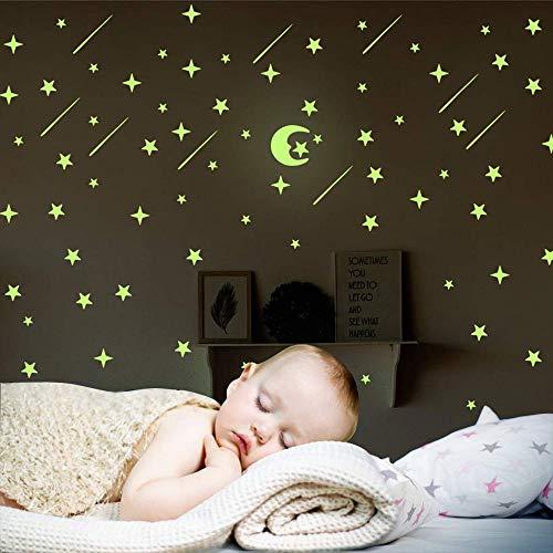 206 PCS Leuchtsterne Punkten und Mond Wandsticker für Kinderzimmer, DIY Im Dunkeln Leuchtend Wandtattoos Wandaufkleber für Kinder Schlafzimmer Wohnzimmer Dekor Kit oder Jungen Mädchen