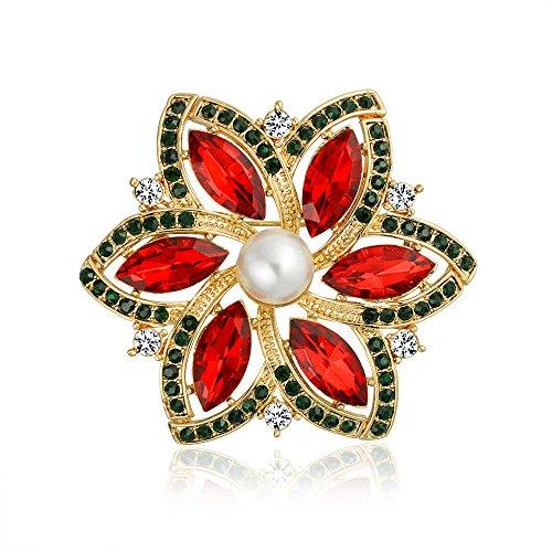 Bling Jewelry Rot Marquise Kristall Simulierten Perle Mode Große Aussage Urlaub Weihnachtsstern Blume Broschen Für Damen Vergoldet