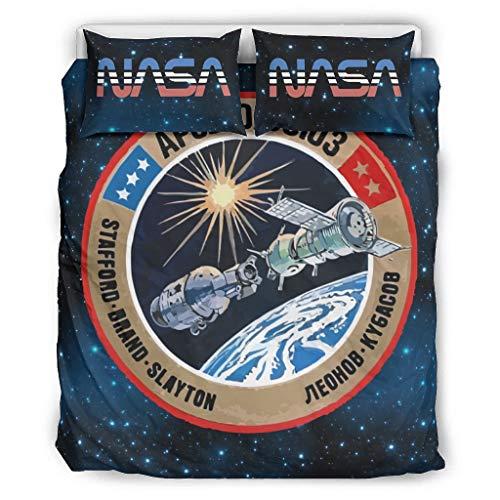 Mentmate Store NASA - Juego de ropa de cama de microfibra suave (1 funda nórdica y 1 funda de almohada para dormitorio juvenil, 264 x 229 cm), color blanco