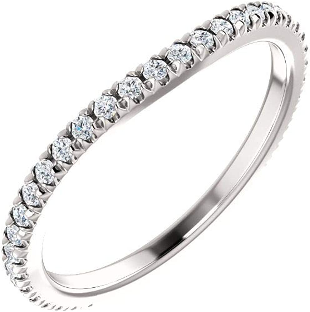 14K White Gold 1 3 ct Diamond Ring Size trust French-Set Safety and trust 7 Engagement