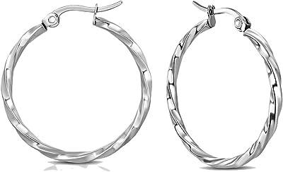 Orecchini in acciaio inossidabile argentato, a cerchio intrecciato, diametro 25 mm