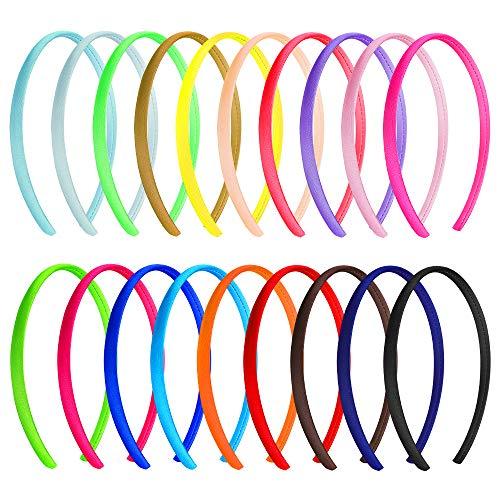 Satin Stirnbänder 20 Stück Mehrfarbig Harte Stirnbänder Haarreifen Satin für Damen Mädchen Kinder, 20 Farben