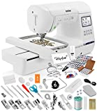 Brother SE1900 Sewing Embroidery Machine + Grand Slam Package Includes 64 Embroidery Threads + Prewound Bobbins + Cap Hoop + Sock Hoop + Stabilizer + 15,000 Designs + Scissors