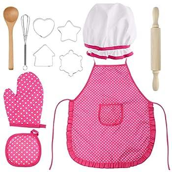 BESTONZON Enfants Chef Set - Kit Enfants Cuisiner Jouer Ensemble de cadeau 11pcs avec un tablier en forme de chapeau de chef Emporte Pièce pour les petites filles