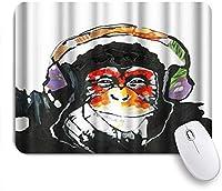 VAMIX マウスパッド 個性的 おしゃれ 柔軟 かわいい ゴム製裏面 ゲーミングマウスパッド PC ノートパソコン オフィス用 デスクマット 滑り止め 耐久性が良い おもしろいパターン (カラフルなヘッドセットを持つ面白い動物チンパンジーの肖像画)