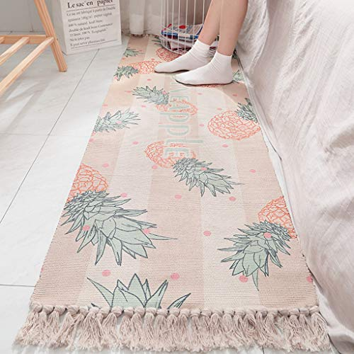 Scrolor Teppiche für Schlafzimmer Rutschfeste Bodenmatte Teppiche Bunte Geometrische Verschleißfeste Reine Baumwolle Gewebte Quaste Dekoration