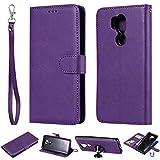JEEXIA® Schutzhülle Für LG G7 ThinQ / G7 Fit / G7 One, Magnetisch Abnehmbar PU Lederhülle Flip Cover Brieftasche Innenschlitzen 2 in 1 Handy-Hülle (ohne Saugnapf) - Lila