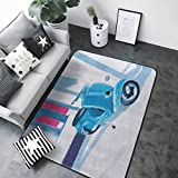 Multi-USE Floor MAT Country Decor,Mini Scooter in a Soft Mediterranean Mid Day Light Italian Town Life Symbol Art Paint,Blue Pink 60'x 72' Bedroom Rugs