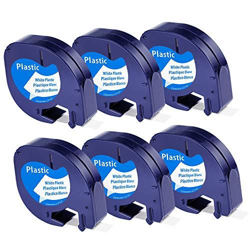 Unistar – Cinta de Etiquetas compatible para usar en lugar de Dymo LetraTag Plástico Cintas, Recambios Dymo S0721610 91201 Cinta Etiquetas 12mm negro sobre blanco para Dymo LT-100h LT-100T LT-110T XR ⭐