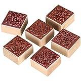 TRIXES 6 Timbri Gommati in Legno per Lavori Artigianali, Lettere, Motivo Decorativo a Merletto