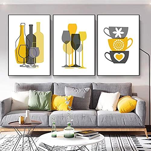 Astratta di vetro da tavola scandinavo tela pittura nordica wall art immagini poster stampa per sala da pranzo complementi arredo casa murale-50x70 cm 3 pz senza cornice