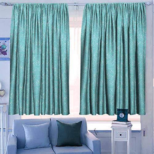 Rod Pocket Gordijnen voor kamer donkere panelen voor woonkamer slaapkamer Turks patroon vintage samenstelling met groene frame en ronde spiraal bloem jade groen bordeaux wit