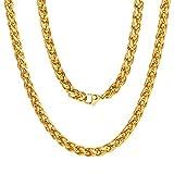 ChainsPro Collana di gioielli con catena a catena Spiga di grano per uomo donna, placcato oro 18k / nero/acciaio inossidabile, 6 mm, 18-30 pollici, (sacchetto di velluto + confezione regalo)