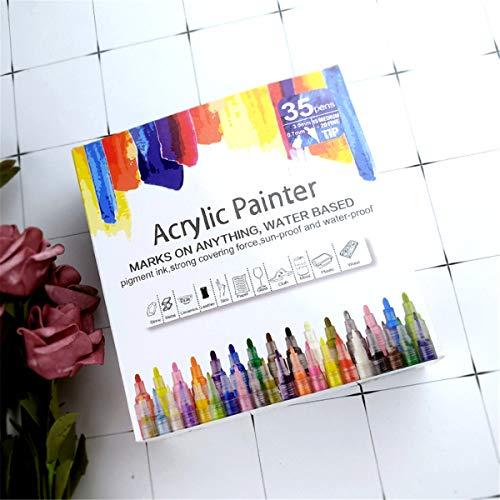 SHOTAY Rotulador de pintura permanente de acrílico, 35 unidades, acrílico permanente, para pintura de cerámica, cristal de roca, porcelana, zapatos de madera, pintura de lona