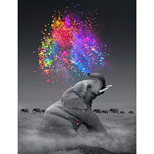 Cenda DIY 5D Diamond Painting, Crystal Rhinestone Diamond Embroidery Paintings Pictures Arts Craft for Home Decoration, Colorful Star Gray Elephant 30x40 cm