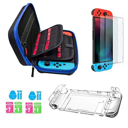 Kit accessori per Nintendo Switch - Custodia Nintendo Switch con 20 cartucce di gioco/cover trasparente per cover / 2 pezzi di protezione per schermo HD per console Nintendo Switch Accessori (Blue))