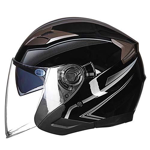Cascos Half-Helmet Cascos Abiertos Casco de Motocicleta Retro Harley Medio Casco Cruiser Chopper Scooter Piloto Jet Casco 3/4 Adulto Four Seasons Safety Collision Cap A,M
