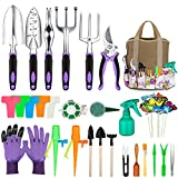 Tudoccy Garden Tools Set 83 Piece, Succulent Tools Set Included, Heavy Duty Aluminum Gardening Tools for Gardening, Non-Slip Ergonomic Handle Tools, Durable Storage Tote Bag, Gifts Tools for Men Women
