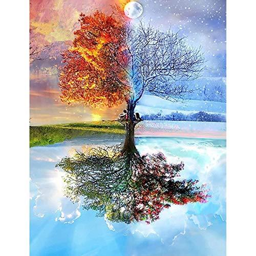 Maysurban 5D Diamant Stickerei Jahreszeit-Baum DIY Painting Kit für Home Wand-Dekor 30 x 40 cm