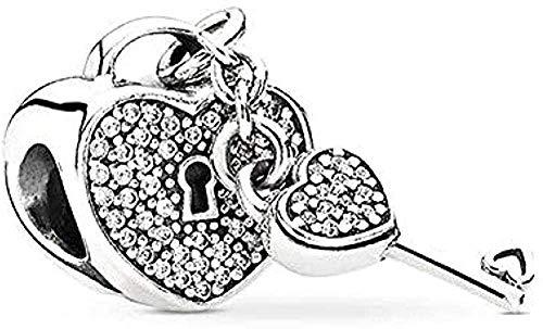ZPPYMXGZ Co.,ltd Collar de Moda 1 Unids/Lote Love Key Lock Charm Beads Colgante Encaja Original Charm Pulsera Collar para Mujer Fashiont