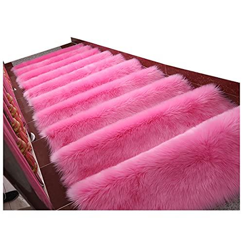 CNNLove Alfombra De Escalera De Felpa De Color Sólido De Autoimprimantes Sin Pegamento Súper Cómodo Alfombra De Peldaños para Escaleras Antideslizante 5 Piezas,60x24cm