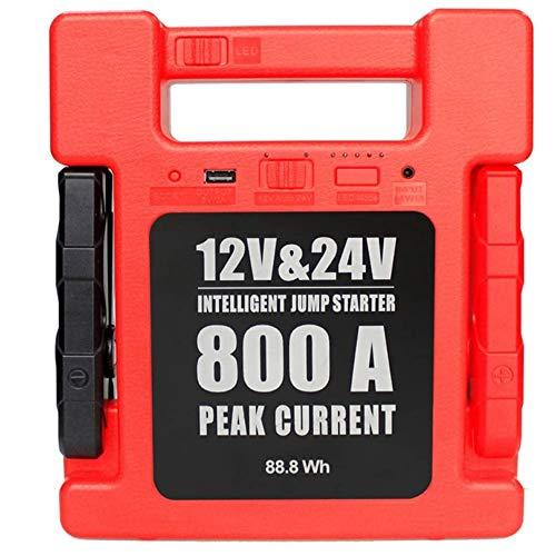 Angelay-Tian 24000 mAh Cargadores de batería Inteligentes de Emergencia para Exteriores portátiles para Coches de 12 V / 24 V, Motocicletas vehículos recreativos, con USB, Linterna LED, Abrazaderas