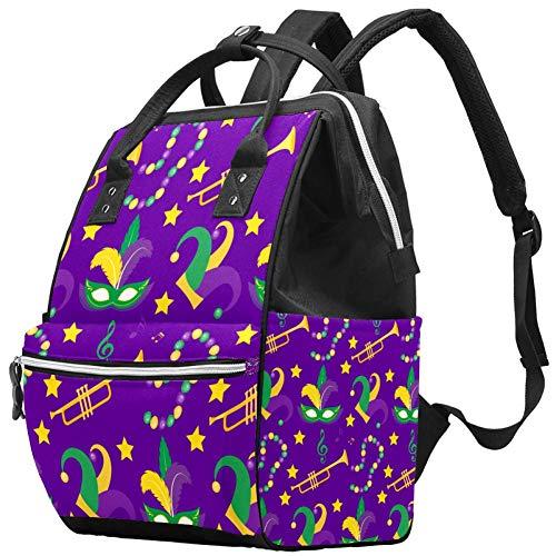 Bolso cambiador de momia multifunción portátil mochila impermeable pañal bolsa de viaje bolsas de pañales bolsa doctor mochila escolar - Mardi Gras Carnaval Plumas Perlas