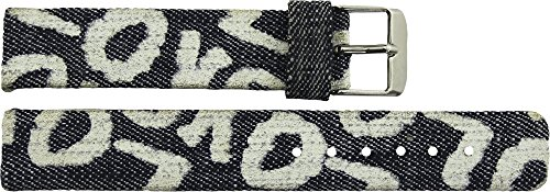 Correa de Reloj en Tela Azul - 16mm - -Hebilla en Plata acero inoxidable - B16JeaItr60S
