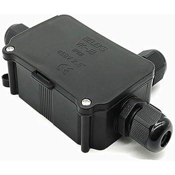 Resistente al agua caja de derivación conector conexión de cable Socket toma a tierra resistente al agua 3 way cable conectores para exteriores/externo caja de derivación eléctrica, color negro: Amazon.es: Iluminación