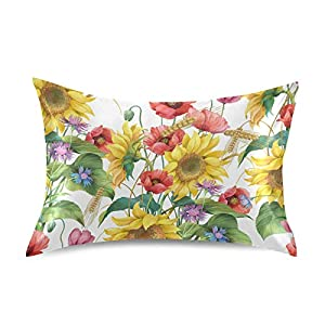 YKMustwin Satin Pillowcase for Hair and Skin Silk Pillowcase Standard Size Flowers Sunflowers Wheat Poppy Pillow Cases Cooling Satin Pillow Covers with Envelope Closure