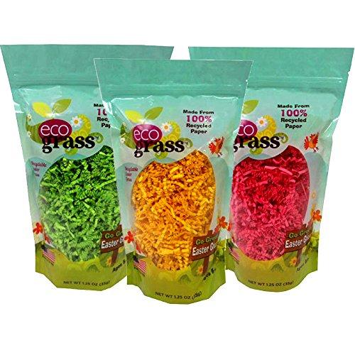 eco grassPapier-Osterkorb, Gras, umweltfreundliches Gras, 3 Beutel, je 1 Stück, Farbe: Gelb, Grün und Pink. Aus 100 % recyceltem Papier.