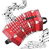 Acordeón de concertina de madera maciza, Concertina estilo inglés Acordeón profesional portátil con correa de mano ajustable y bolsa de transporte Instrumento musical para niños y adultos(rojo)