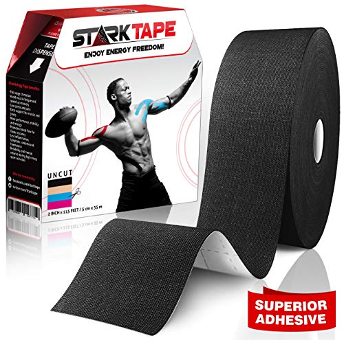 Starktape Bulk Kinesiology Tape - Designed to Help Boost Athletic Performance, Prevent Joint, Muscle Pain and Ease Inflammation. Easy to Apply, 97% Cotton /3% Spandex - Uncut 2