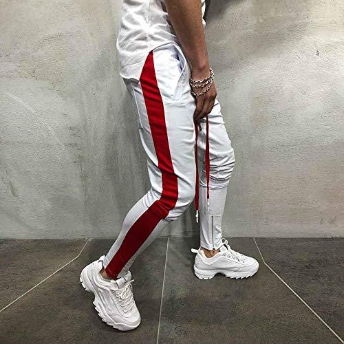 MOVERV Hombre Pantalón Chándal Deporte Pantalón,Jogger Pantalones de Chándal Estampado a Rayas de Hombres Gimnasio Fitness Pantalones con Bolsillos Cómodos para Running Ejercicios Deportes