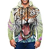 Fashion Cool Tiger Tropical Flowers Cartoon Comic Men Full Zip Up Felpa a Maniche Lunghe con Cappuccio e Tasche Nero L