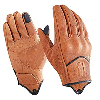 Harssidanzar Mens Full Finger Goatskin Leather Touchscreen Motorcycle Gloves Upgrade GM028,Tan,Size S