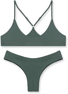 stripsky Brazilian Bottom Bralette Bikini Set, Non-Pad Cross Back Swimsuit for Women