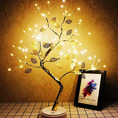 20'' Tabletop Bonsai Tree Light with 108 LED Lights-USB/Battery Touch Switch, Fairy Spirit Light Tree Celtic Serenity, Artificial Lighted Tree Lamp for Living Room Home Decor, for Her, Women