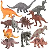 "Kangaroo Realistic 7"" Dinosaurs (Set of 12) Jumbo PVC Assorted Dinosaur Toys for Boys with Play Mat & Educational Full Color Dinosaur Book"