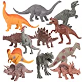 "Kangaroo Realistic 7"" Dinosaur Toys (Set of 12) Jumbo PVC Assorted Toy Dinosaurs for Boys with Play Mat & Educational Full Color Dinosaur Book"