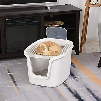 Pawhut Maison de Toilette pour Chat - bac à litière Chat - Double Porte battante et supérieure - Filtre Odeur + Pelle fournis - Blanc Gris